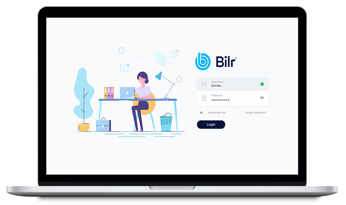 Picture of laptop with in-app screenshot of the login page for Bilr's legal billing software