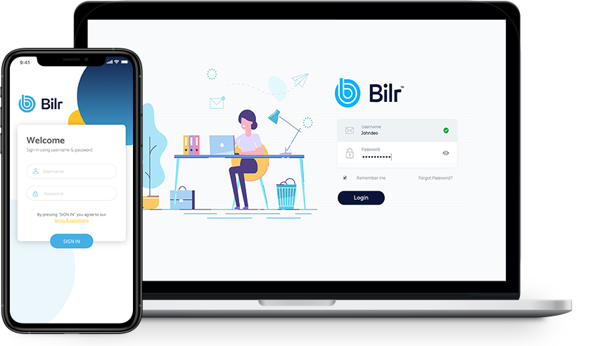 Picture of laptop and mobile phone with in-app screenshot of the login page for Bilr's legal billing software and app